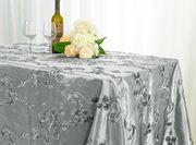"90""x 132"" Rectangular Seamless Ribbon Taffeta Tablecloth - Silver 65740(1pc/pk)"