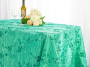 "90""x 132"" Rectangular Seamless Ribbon Taffeta Tablecloth - Tiff Blue / Aqua Blue 65718(1pc/pk)"