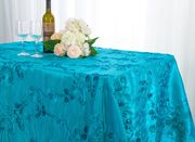 "90""x 132"" Rectangular Seamless Ribbon Taffeta Tablecloth - Turquoise 65785(1pc/pk)"