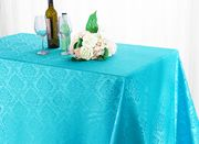 "90"" x 156"" Seamless Marquis Rectangular Jacquard Damask Polyester Tablecloths (12 colors)"