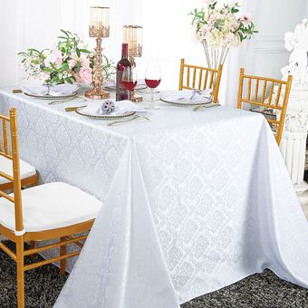 """90"""" x 156"""" Marquis Rectangular Jacquard Damask Polyester Tablecloths (12 colors)"""