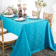 "90""x 156"" Rectangular Damask Jacquard Polyester Tablecloths - Turquoise 97085(1pc/pk)"