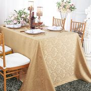 "90""x 156"" Rectangular Damask Jacquard Polyester Tablecloths - Champagne 97028(1pc/pk)"
