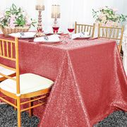 "90""x156"" Sequin Rectangle Tablecloth - (NEW SHADE) Coral 01606 (1pc/pk)"