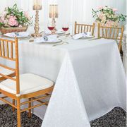 "90""x 156"" Sequin Taffeta Rectangular Tablecloth - White 01601 (1pc/pk)"