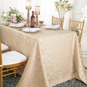 "90""x 156"" Rectangular Versailles Chopin Damask Jacquard Polyester Tablecloths - Champagne 93028(1pc/pk)"