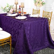 "90""x 156"" Rectangular Versailles Chopin Damask Jacquard Polyester Tablecloths - Eggplant 93045(1pc/pk)"