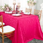 "90""x 156"" Rectangular Versailles Chopin Damask Jacquard Polyester Tablecloths - Fuchsia 93009(1pc/pk)"