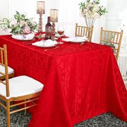 "90""x 156"" Rectangular Versailles Chopin Damask Jacquard Polyester Tablecloths - Red 93012(1pc/pk)"