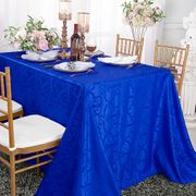 "90""x 156"" Rectangular Versailles Chopin Damask Jacquard Polyester Tablecloths - Royal Blue 93022(1pc/pk)"