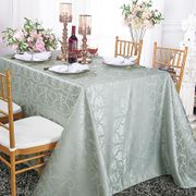 "90""x 156"" Rectangular Versailles Chopin Damask Jacquard Polyester Tablecloths - Silver 93040(1pc/pk)"