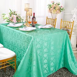 "90""x 156"" Rectangular Versailles Chopin Damask Jacquard Polyester Tablecloths - Tiff Blue / Aqua Blue 93018(1pc/pk)"