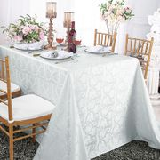 "90""x 156"" Rectangular Versailles Chopin Damask Jacquard Polyester Tablecloths - White 93001(1pc/pk)"