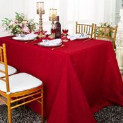 90x132 Rectangular Paillette Poly Flax / Burlap Tablecloth - Apple Red 11008 (1pc/pk)
