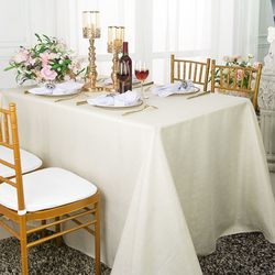 "90""x 132"" Rectangular Paillette Poly Flax / Burlap Tablecloth - Ivory 11002 (1pc/pk)"