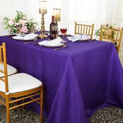 "90""x 132"" Rectangular Paillette Poly Flax / Burlap Tablecloth - Regency Purple 11063 (1pc/pk)"
