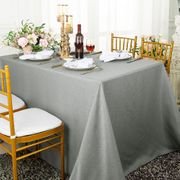 "90""x 132"" Rectangular Paillette Poly Flax / Burlap Tablecloth - Silver 11040 (1pc/pk)"