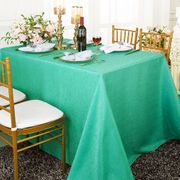 90x132 Rectangular Paillette Poly Flax / Burlap Tablecloth - Tiff Blue / Aqua Blue 11018 (1pc/pk)