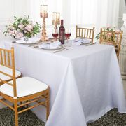 "90""x 132"" Rectangular Paillette Poly Flax / Burlap Tablecloth - White 11001 (1pc/pk)"