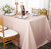 "90""x 132"" Rectangular Paillette Poly Flax / Burlap Tablecloth - Blush Pink 11015 (1pc/pk)"
