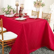 """90""""x 132"""" Striped Rectangular Damask Polyester Tablecloth - Apple Red 86808 (1pc/pk)"""
