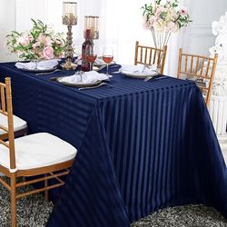 "90""x 132"" Striped Rectangular Damask Polyester Tablecloth - Navy Blue 86823 (1pc/pk)"