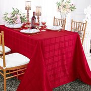 "90"" x 156"" Rectangular Plaid Polyester Tablecloths - Apple Red 87908 (1pc/pk)"