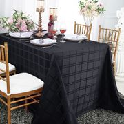 "90"" x 156"" Rectangular Plaid Polyester Tablecloths - Black 87939(1pc/pk)"