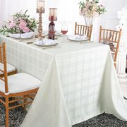 "90""x 156"" Rectangular Plaid Polyester Tablecloths - Ivory 87902 (1pc/pk)"