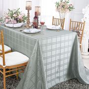 "90"" x 156"" Rectangular Plaid Polyester Tablecloths - Silver 87940(1pc/pk)"