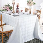 "90"" x 156"" Rectangular Plaid Polyester Tablecloths - White 87901 (1pc/pk)"