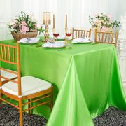 "90""x 156"" Rectangular Satin Tablecloth - Apple Green 55737(1pc/pk)"