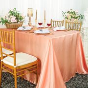"90""x 156"" Rectangular Satin Tablecloth - Apricot / Peach 55731(1pc/pk)"