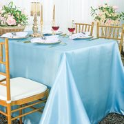 "90""x 156"" Rectangular Satin Tablecloth - Baby Blue 55720(1pc/pk)"