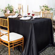 "90""x 156"" Rectangular Satin Tablecloth - Black 55739(1pc/pk)"