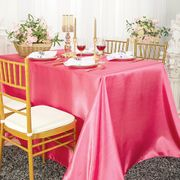 "90""x 156"" Rectangular Satin Tablecloth -  Bubble Gum 55735(1pc/pk)"
