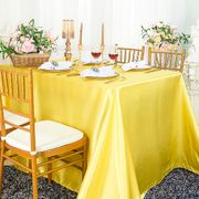 "90""x 156"" Rectangular Satin Tablecloth - Canary Yellow 55716(1pc/pk)"