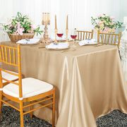 "90""x 156"" Rectangular Satin Tablecloth - Champagne 55728(1pc/pk)"