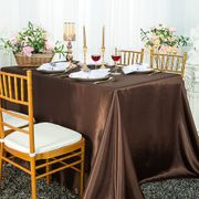 "90""x 156"" Rectangular Satin Tablecloth - Chocolate 55791(1pc/pk)"