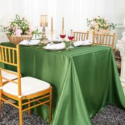 "90""x 156"" Rectangular Satin Tablecloth - Clover Green 55748(1pc/pk)"