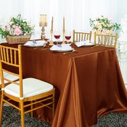 "90""x 156"" Rectangular Satin Tablecloth - Cognac 55757(1pc/pk)"