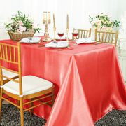 "90""x 156"" Rectangular Satin Tablecloth - Coral 55706(1pc/pk)"