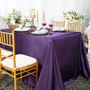 "90""x 156"" Rectangular Satin Tablecloth - Eggplant 55745 (1pc/pk)"