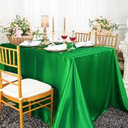 "90""x 156"" Rectangular Satin Tablecloth - Emerald Green 55738 (1pc/pk)"