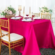 "90""x 156"" Rectangular Satin Tablecloth - Fuchsia 55709(1pc/pk)"