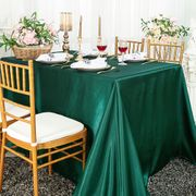 "90""x 156"" Rectangular Satin Tablecloth - Holly Green / Hunter Green 55719(1pc/pk)"