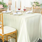 "90""x 156"" Rectangular Satin Tablecloth - Ivory 55702 (1pc/pk)"