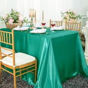 "90""x 156"" Rectangular Satin Tablecloth - Jade 55726(1pc/pk)"