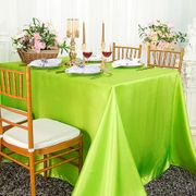 "90""x 156"" Rectangular Satin Tablecloth - Key Lime 55749(1pc/pk)"