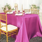 "90""x 156"" Rectangular Satin Tablecloth - Magenta /Azalea 55736(1pc/pk)"